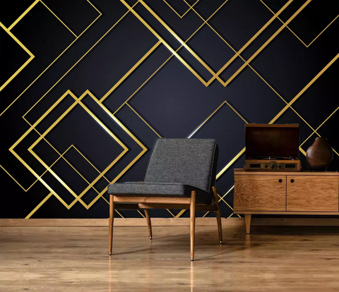 3D Black Golden Geometric Square Wall Mural Wallpaper 229