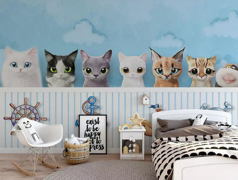 3D Blue Background Kitten Wall Mural Wallpaper 244