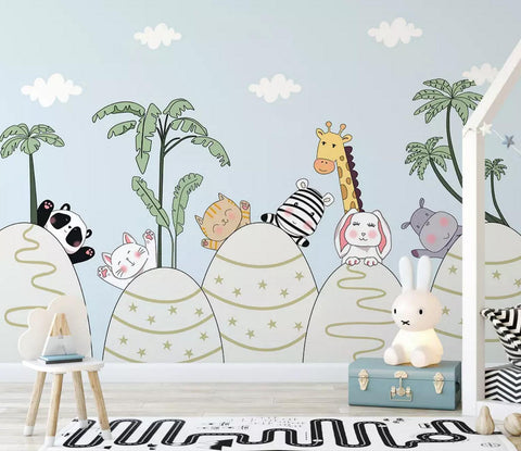 3D Color Cartoon Animals Background Wall Mural Wallpaper 464