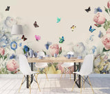 3D color flowers watercolor wall mural wallpaper 461
