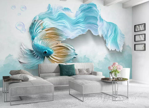 3D Blue Tail Carp Watercolor Wall Mural Wallpaper 145