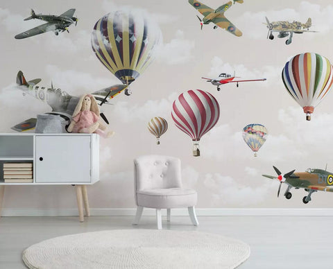 3D color cartoon hot air balloon wall mural wallpaper 465