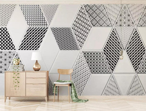 3D black white pattern marble diamond wall mural wallpaper 93