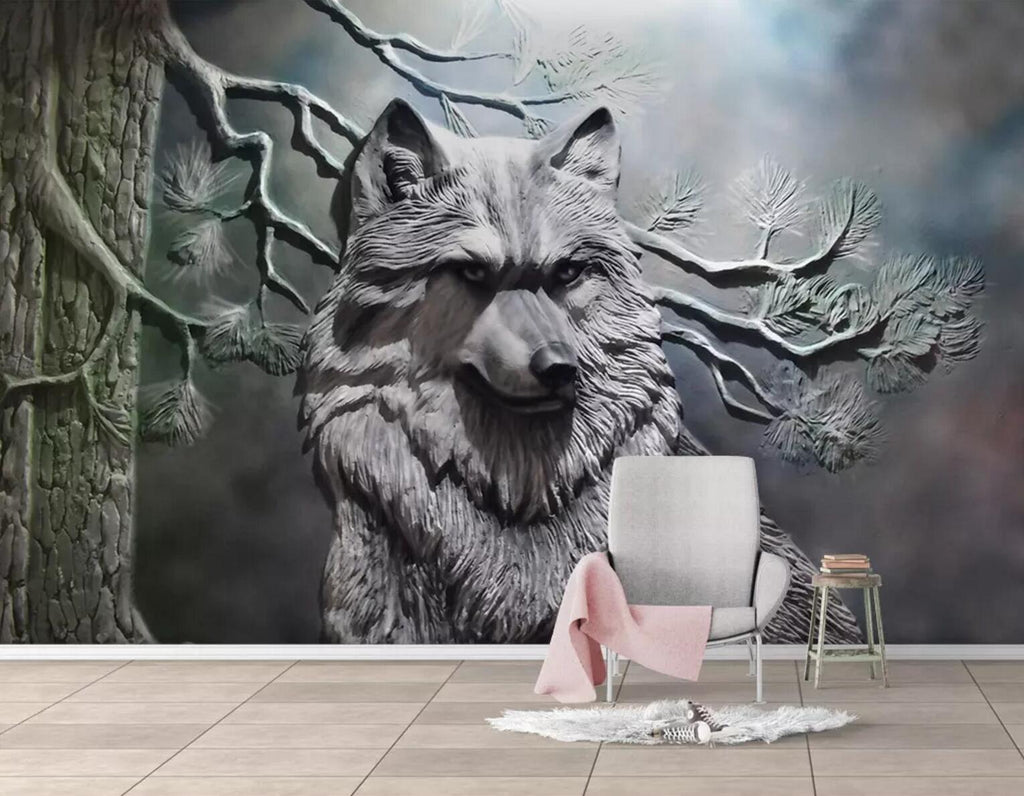 3d Black White Forest Wolf Relief Effect Wall Mural Wallpaper 202