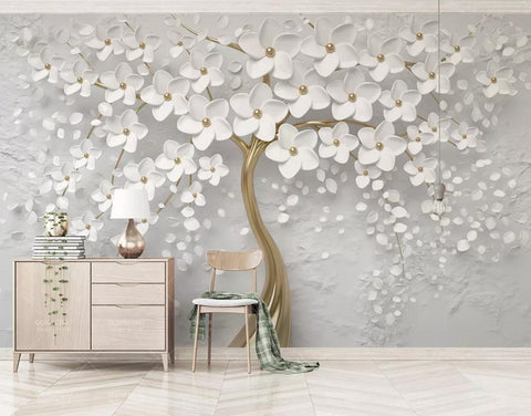 3D white flowers relief wall mural wallpaper 483