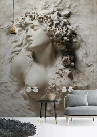 3D black white portrait relief effect wall mural wallpaper 37