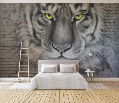 3D Black White Tiger Head Wall Mural Wallpaper 227