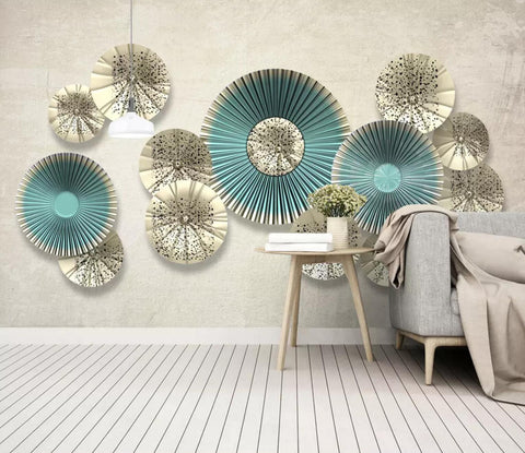 3D Geometry Ring Wall Mural Wallpaper 491