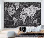 3D Black Abstract World Map Wall Mural Removable 109 - Jessartdecoration