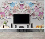 3D Ceramic Colorful Partysu Floral Wall Mural Removable 133 - Jessartdecoration