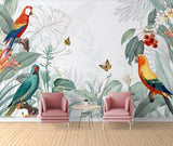 3D Retro Tropical Leaves Parrot Wall Mural Removable 108 - Jessartdecoration