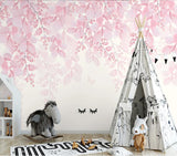 3D Pink Romantic Leaves Wall Mural Removable 179