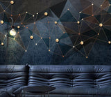 3D Dark Geometric Golden Lines  Wall Mural Removable 163
