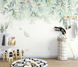 3D Watercolor Leaves Wall Mural Removable Wallpaper 170