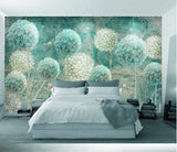 3D Bluish Oil Painting Floral Hydrangea Wall Mural Removable 117