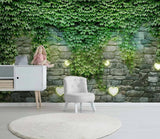 3D Green Ivy Stone Wall Wall Mural Removable 171 - Jessartdecoration