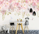 3D Watercolor Pink Warm Floral Wall Mural Removable Wallpaper 118