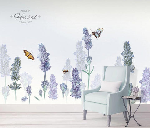 3D Dreamlike Lavender Butterfly Wall Mural Removable 130