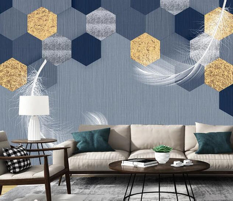 3D Geometric Hexagon Honeycomb Feather Wall Mural Wallpaper 2639
