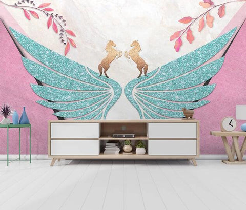 3D Geometric Wings Horse Leaves Wall Mural Wallpaper 2659