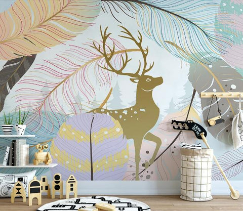 3D Elk Feather Wall Mural Wallpaper 2696