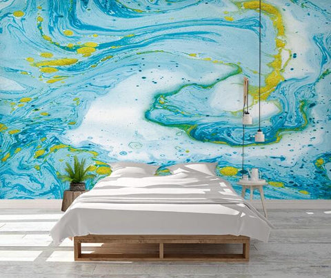 3D Blue Watercolor Wall Mural Wallpaper 2305