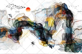 3D Chinese Abstract Mountain Sun Wall Mural Wallpaper 104