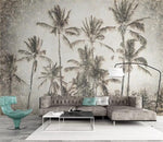 3D Retro Sketch Tropical Palm Trees Wall Mural Removable 111 - Jessartdecoration