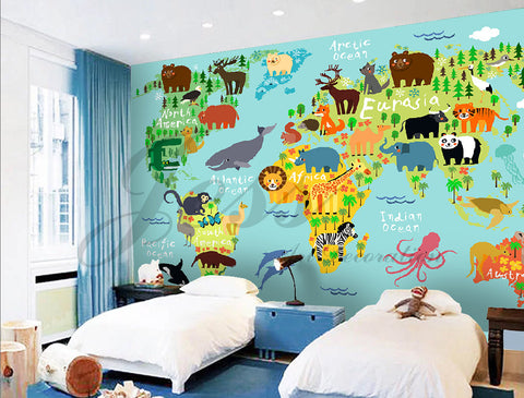 3D Nursery Kids Animals  World Map  Removable Wallpaper