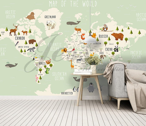 3D Nursery Kids Room Animal World Map   Removable Wallpaper Peel Stick Wall Mural,Wall Decal,Children Toddler,Baby, Wall Sticker L9