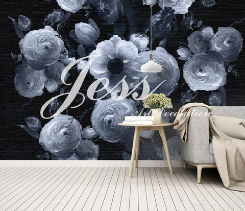 3D Dark Floral Flower Wallpaepr Mural   Removable Wallpaper Peel Stick Wall Mural,Wall Decal,Bedroom,Feature Wall,F1