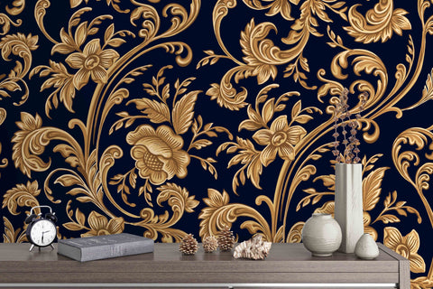 3D Black And Gold Floral Pattern Removable Wallpaper,Peel & stick Wall Mural, Floral, Wall Art,Wall Decal,Kids,Wall Sticker,Jess Art 42