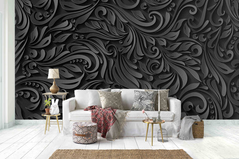 3D Black  Floral Pattern Removable Wallpaper,Peel & stick Wall Mural, Floral, Wall Art,Wall Decal,Wall Sticker,Jess Art 42