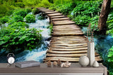 3D Forest Water Wood Bridge Mural  Removable Wallpaper,Peel & stick Wall Mural, Wall Art,Wall Decal,Kids,Nursery,Wall Sticker,Jess Art 42