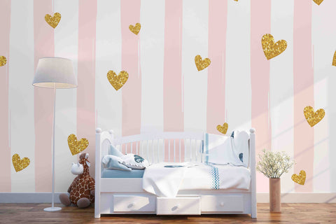 3D Pink Strips Gold Heart Removable Wallpaper,Peel & stick Wall Mural, Wall Art,Wall Decal,Kids,Nursery,Wall Sticker,Jess Art 42