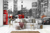 3D Black White City Red Bus London  Mural  Removable Wallpaper,Peel & stick Wall Mural, Wall Art,Wall Decal,Nursery,Wall Sticker,Jess Art 42