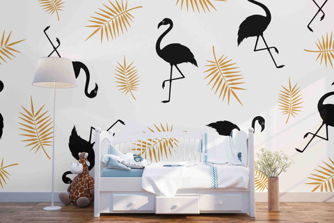 Silhouette of a flamingo and palm branch on a white background Removable Wallpaper,Peel & stick Wall Mural, Wall Art Jess Art