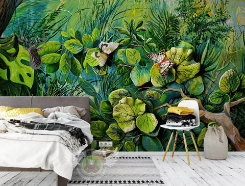3D Tropical, Butterfly, Green vegetation Wallpaper