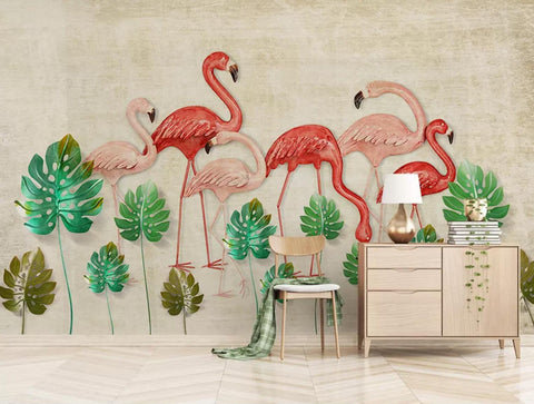 3D Simple, Fresh, Vintage, Banana leaf, Flamingo Wallpaper