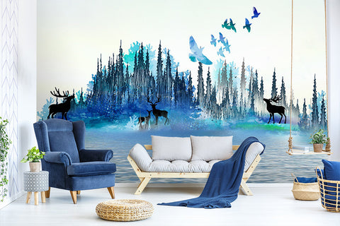 3D Kids, Dreams, Birds, Forest, Elk Wallpaper-Nursery