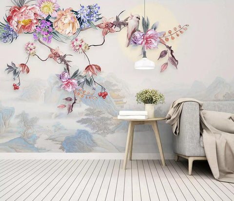3D Floral,Chinese style,Colorful flower