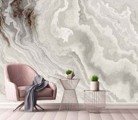 3D Magnificent, White marble grain Wallpaper