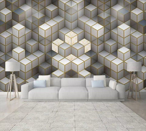 3D Jazz, Gold border, Gray texture Wallpaper