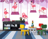 3D Kids, Swing, Flamingo Wallpaper-Nursery
