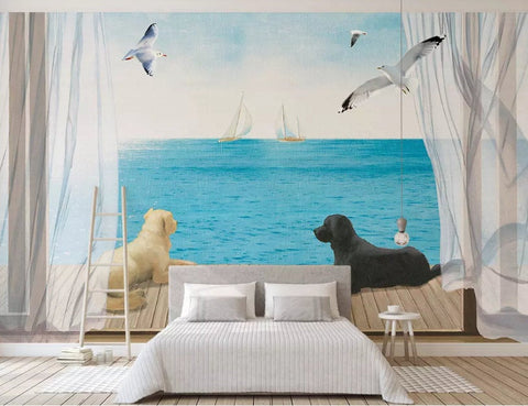 3D Warm, Beach, Dog, Seagull Wallpaper