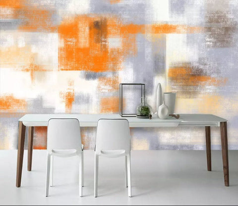 3D Abstract, Orange, Color block Wallpaper