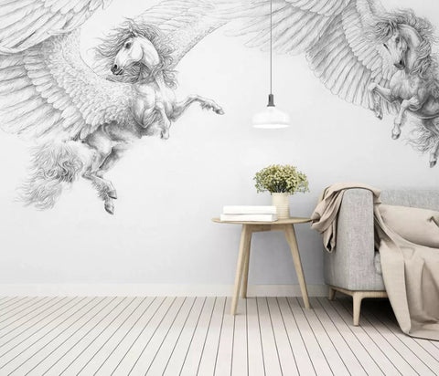 3D Pure, Dreamy, Winged horse Wallpaper