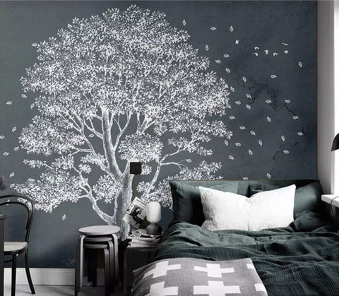 3D Abstract,Modern, White, Rich tree Wallpaper