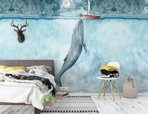 3D Kids, Lonely whale Wallpaper-Nursery