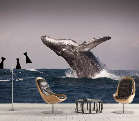 3D The whale jumped out of the sea Wallpaper